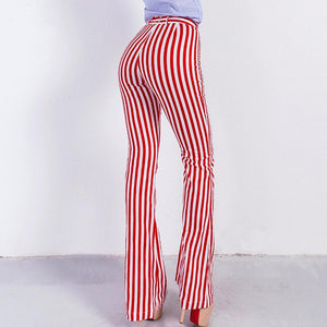 Vertical Stripe High-Waisted Micro Bell-Bottoms