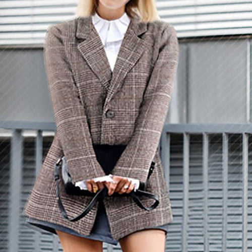 Loose Retro Plaid Long Sleeve Casual Blazer