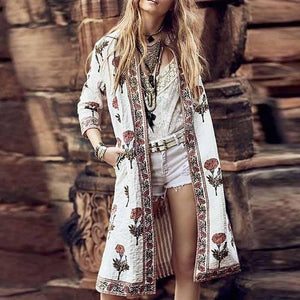 Modern Floral Pattern   Printed Long Sleeve Coat