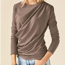 Load image into Gallery viewer, Fashion Irregular Round Neck Long Sleeve T-Shirt