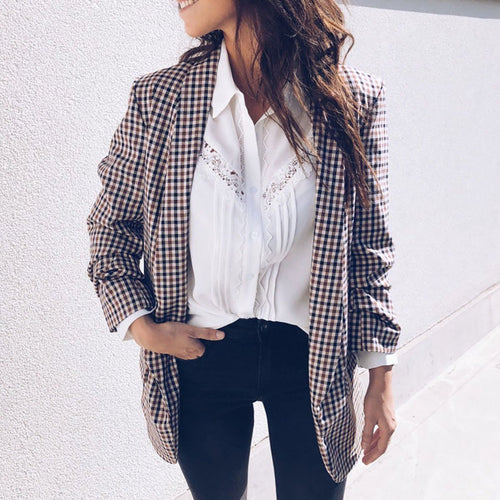 Fashion Long Sleeve Grid Blazers
