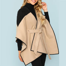 Load image into Gallery viewer, Elegant Contrast Stitching Tie Woolen Coat