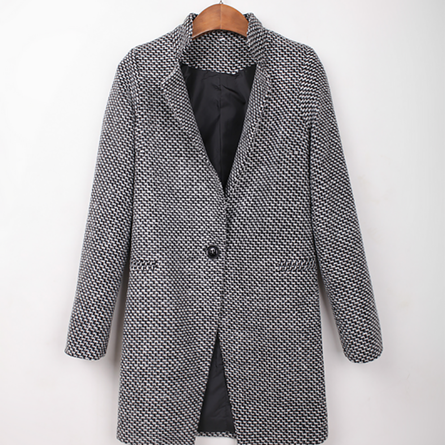 Fashion Solid Color Wool Coat