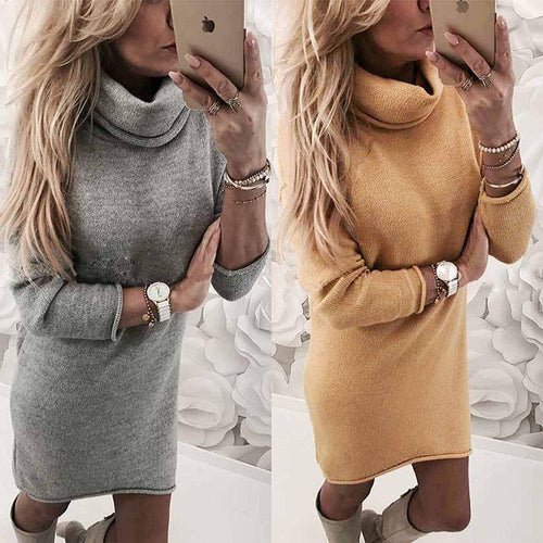 High Collar Bottoming Sweater Dress