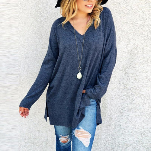 V Neck Long Sleeve Plain Loose Fashion Knitting Sweaters