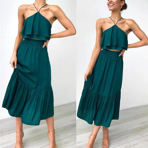 Fashion Strap Wrapped Halter Two-Piece Sling Dress