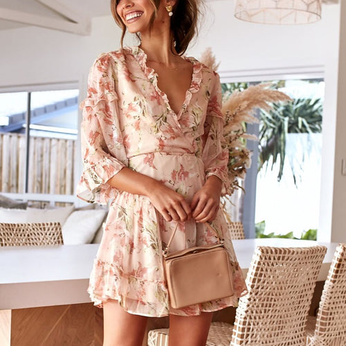 Fashion V-Neck Print Mini Dress
