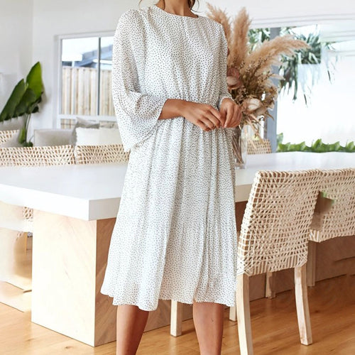 Casual Round Neck Floral Waist Long Sleeve Dress(Video)