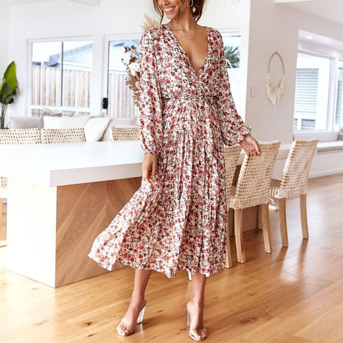 Fashion Deep V-Neck Floral Waist Dress