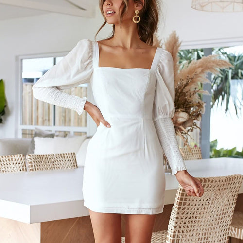 Casual Square Collar Solid Color Long Sleeve Midi Dress(Video)