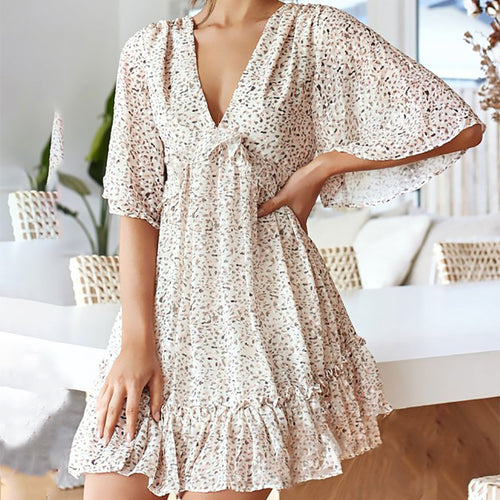 Casual Bare Back Polka Dot Short Sleeve Dress