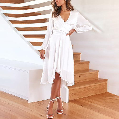 Women's Elegant Pure Color V Neck Long Sleeve Asymmetric Hem Dress