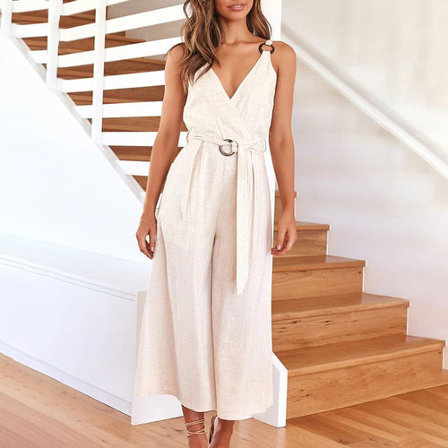 Casual V Neck Pure Color Sling Jumpsuit
