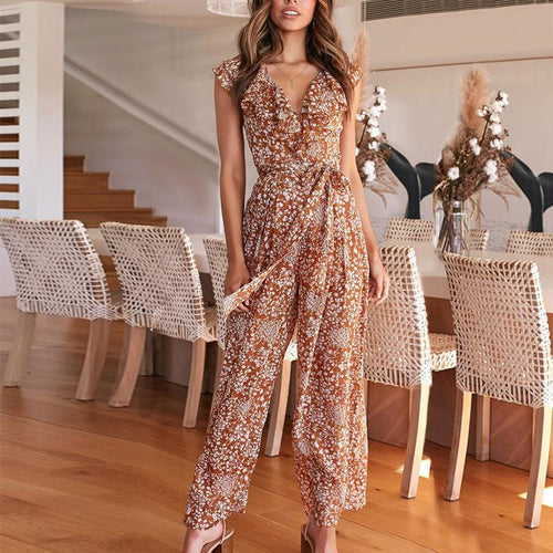 V Neck  Chiffon Sleeveless Regular Jumpsuit