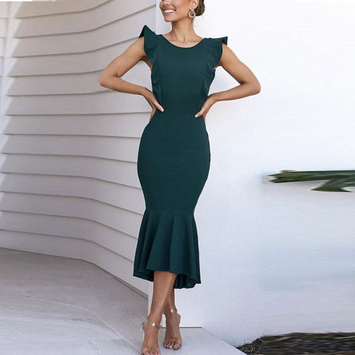 Elegant Round Neck Sleeveless Solid Color Fishtail Dress