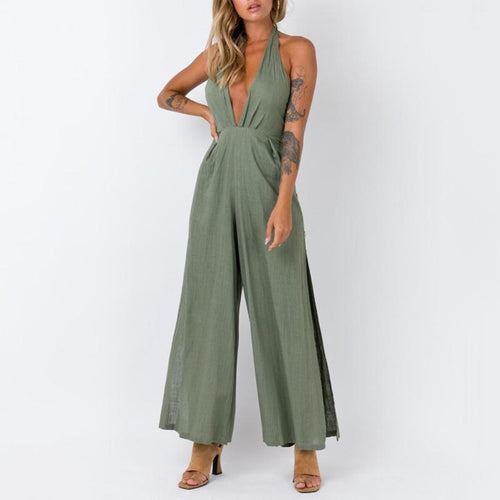 Simple Deep V Hanging Neck Backless Buttoned Wide-Leg Jumpsuit(Video)