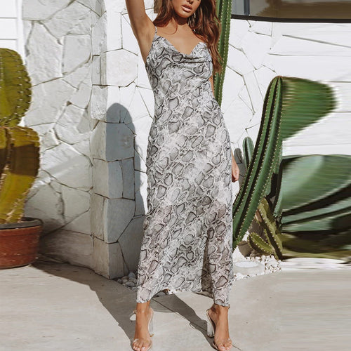 Ankle-Length Snakeskin Off-Shoulder Bare Back Dress