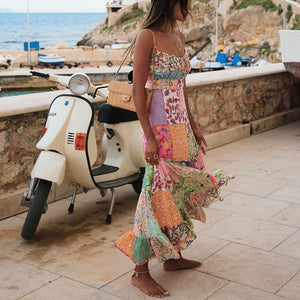 Boho Vacation Lattice Floral Print Splicing Slip Maxi Dress