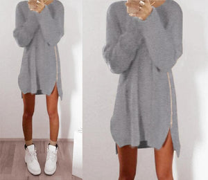 Casual Pure Color Loose Zip Sweater