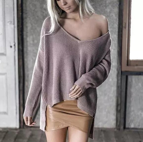 V-Neck Front Short Back Long Sweater