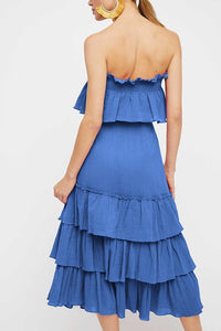 Sexy Ruffled Pleated Casual Sleeveless Two-Piece Suit Maxi Dress