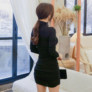 2018 Autumn And Winter High Neck Bottom Dress