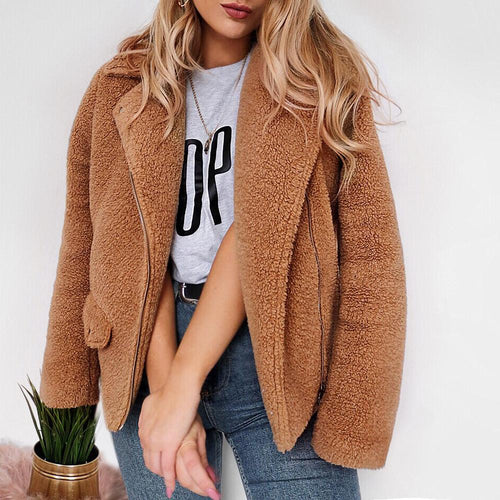 Fashion Faux Plush Short Coat