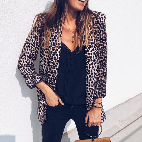 Fashion Leopard Print Wild Women Blazer