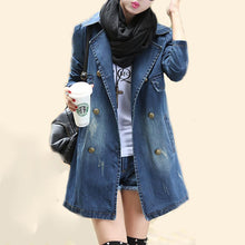 Load image into Gallery viewer, Denim Plain Breasted Fabulous Lapel Trench Coats