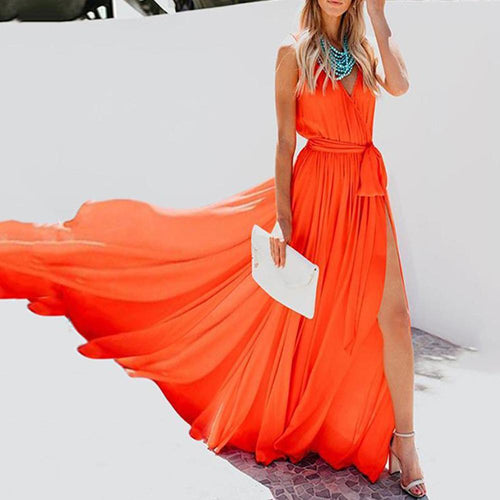 Sleeveless V-Neck Chiffon Elegant Vacation Dress