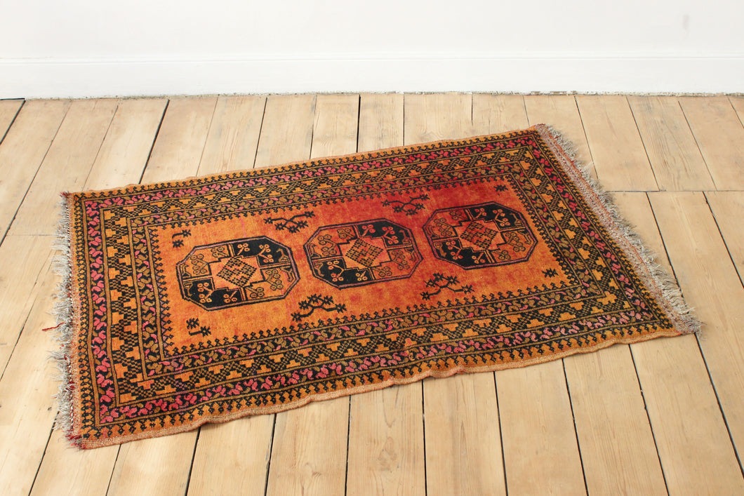 Orange vintage antique rug carpet