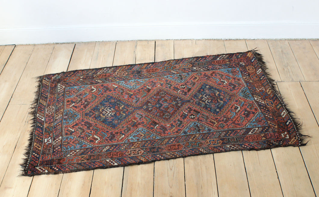 Orange blue vintage antique rug carpet