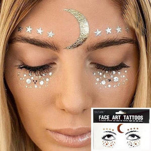 Moon Rise Gold Face Tattoo
