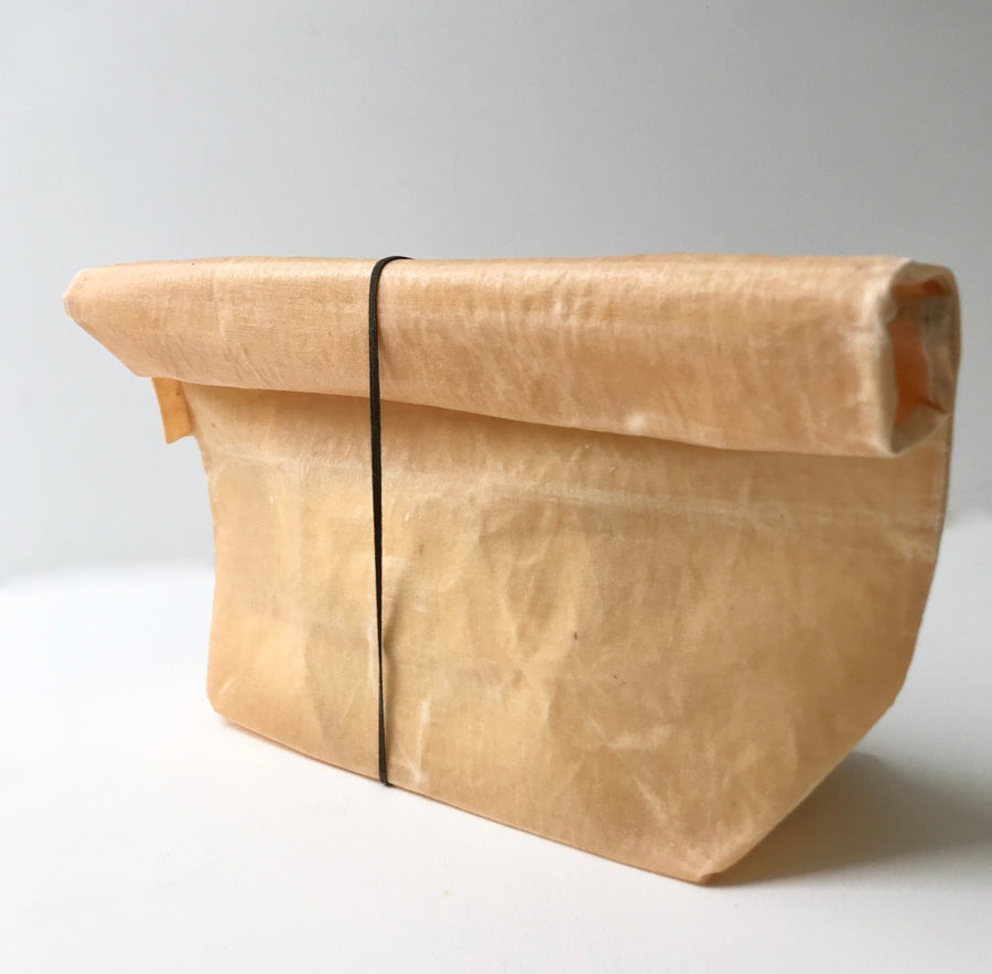 Waxed Linen Roll-Top Bag - Blush