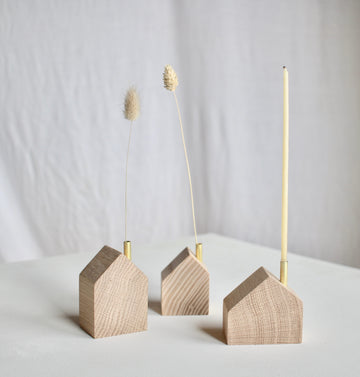 Wooden House Candle Holder - Set of 3