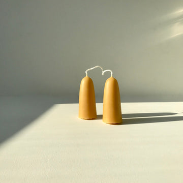 Short Beeswax Stubby Candles - Pair