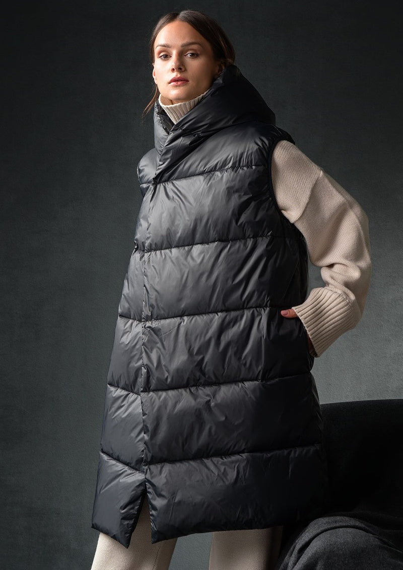 WITNEY BLACK LONG SLEEVELESS PUFFER COAT - JUSTBRAZIL