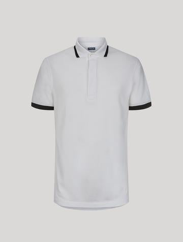 RIBBED BI-COLOURED WHITE POLO - JUSTBRAZIL