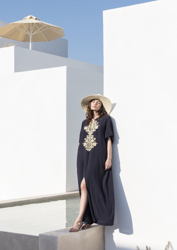 ASTYPALAIA EMBROIDERED BLUE GOLD  MAXI KAFTAN! - JUSTBRAZIL