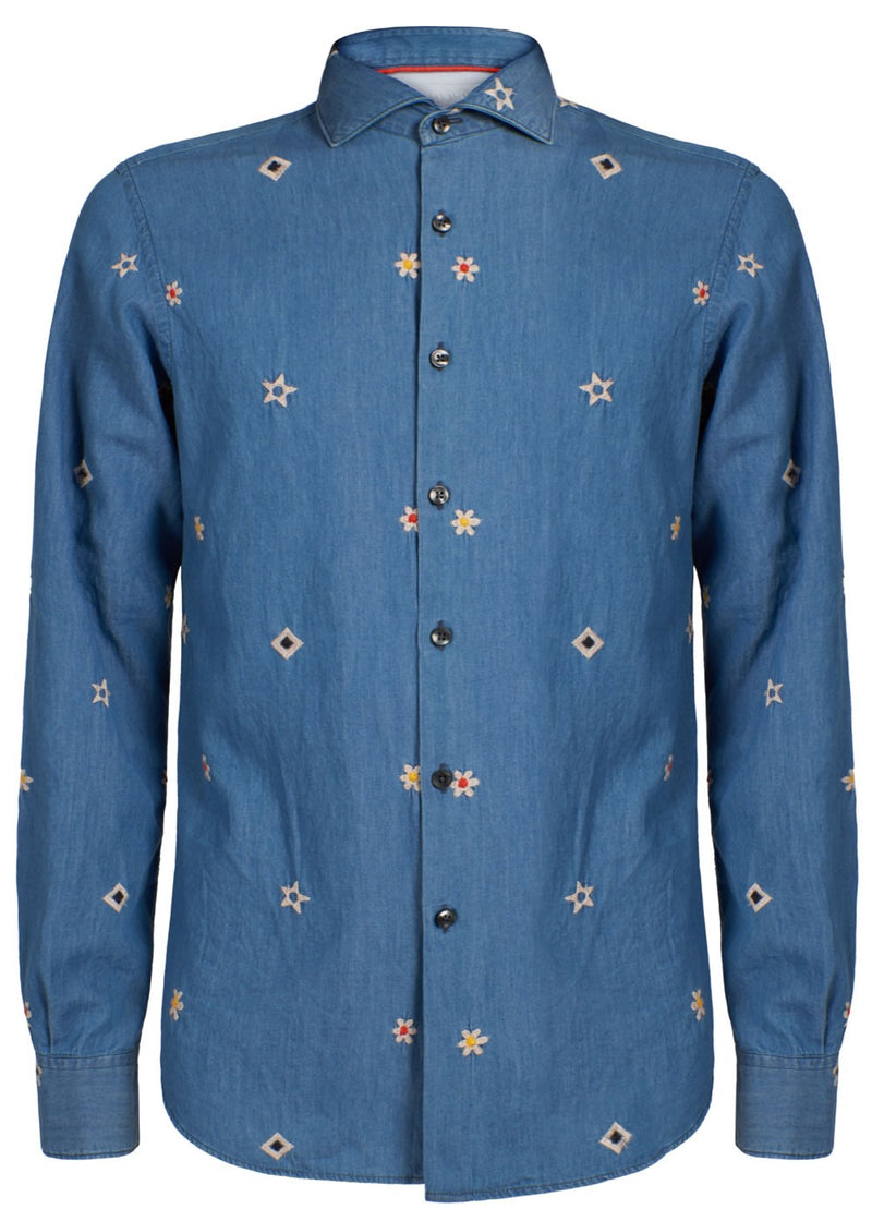 JEANS EMBROIDERED BLUE SHIRT - JUSTBRAZIL
