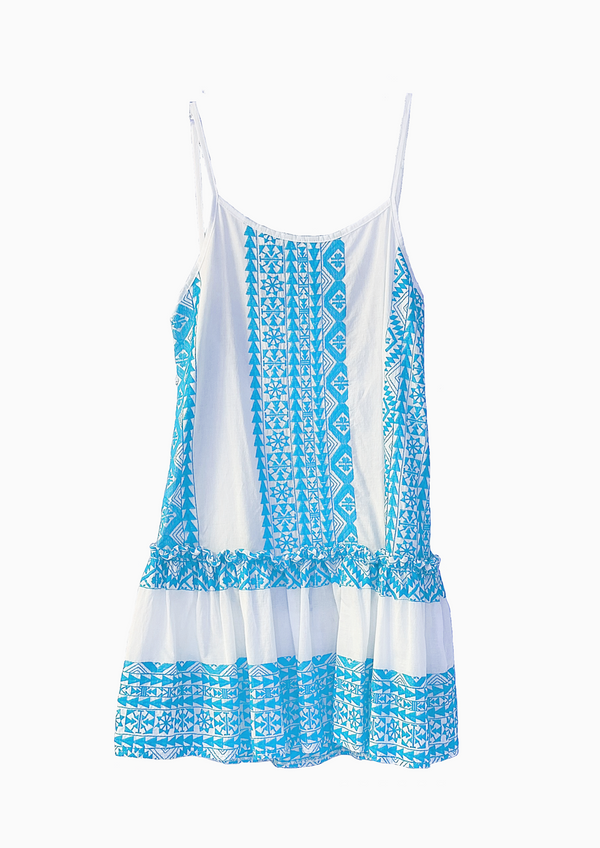 SEMELI WHITE/LIGHT BLUE SHORT DRESS - JUSTBRAZIL
