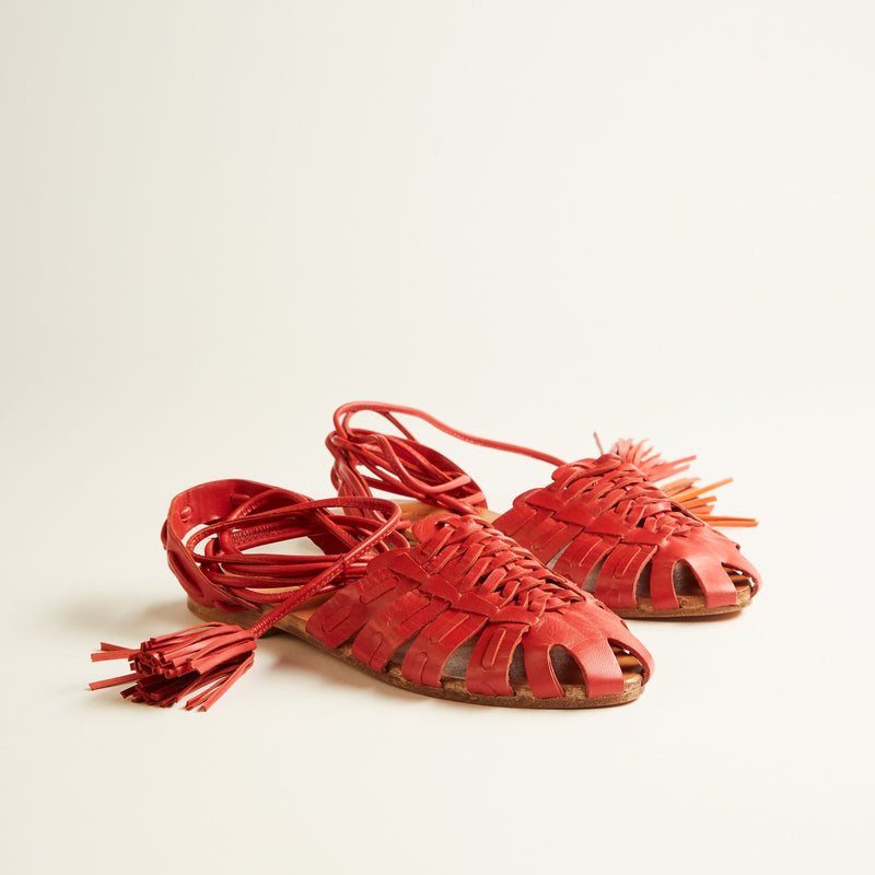 MINA RED BRAIDED SANDALS - JUSTBRAZIL