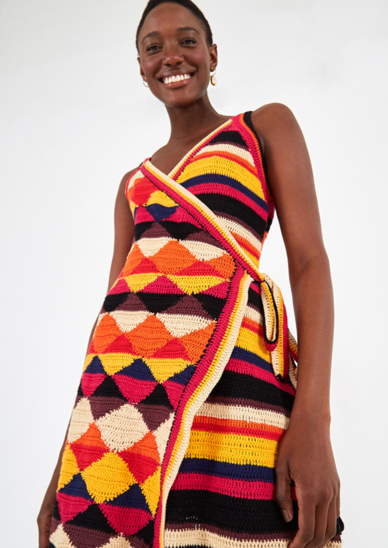 KNITTED WRAP DRESS - JUSTBRAZIL