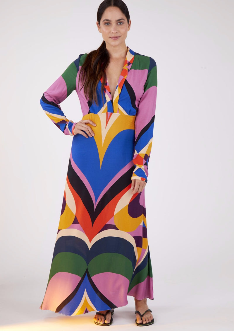 GRAPHIC HEART MAXI DRESS - JUSTBRAZIL