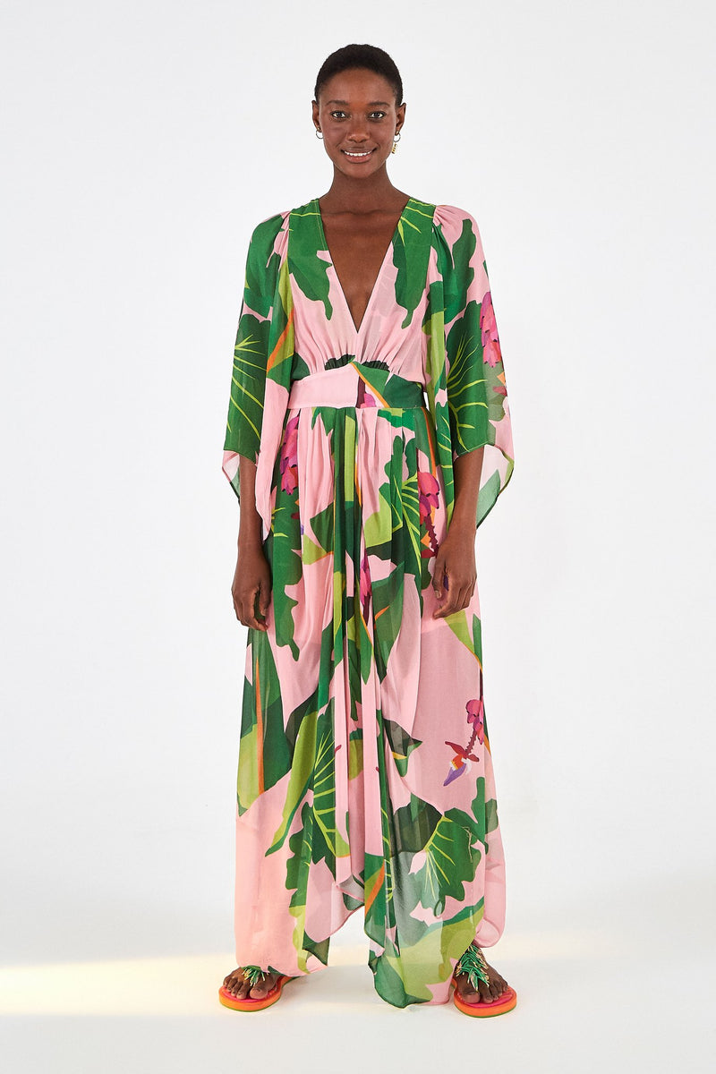 TROPICALISTIC PINK MAXI DRESS - JUSTBRAZIL
