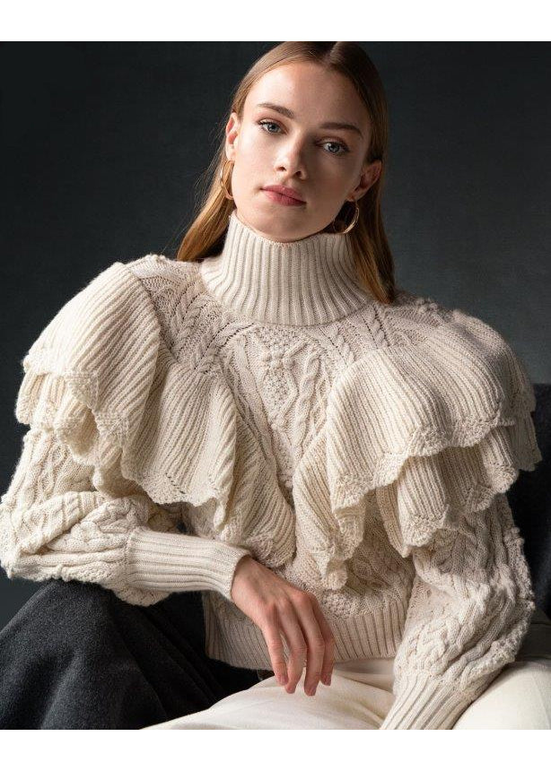IVORY DOUBLE RUFFLE SWEATER - JUSTBRAZIL