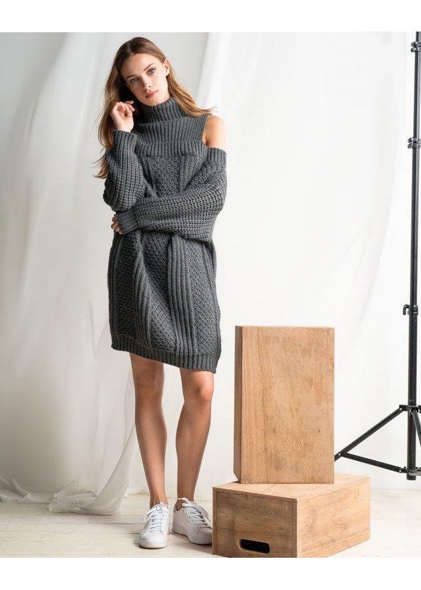 GREY OFF SHOULDER KNITTED DRESS - JUSTBRAZIL