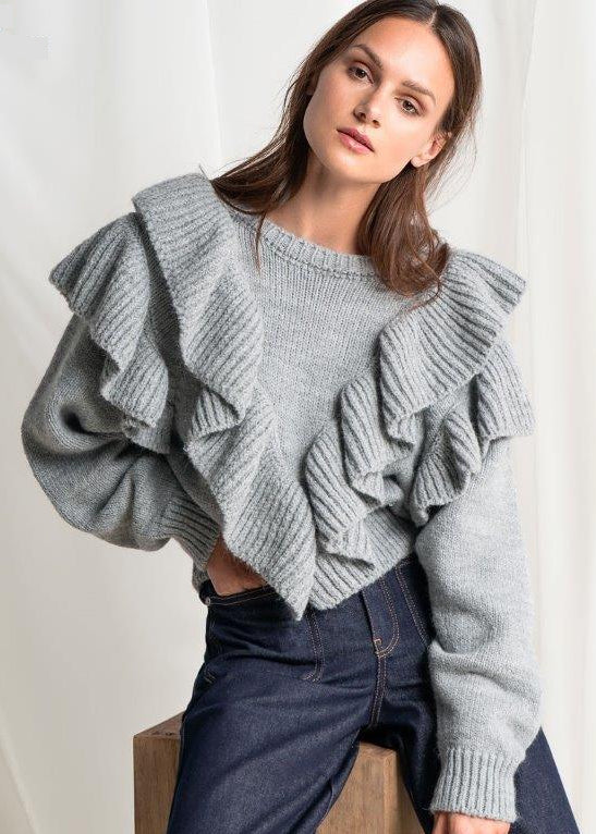 GREY V RUFFLE COLLEGE SWEATER - JUSTBRAZIL