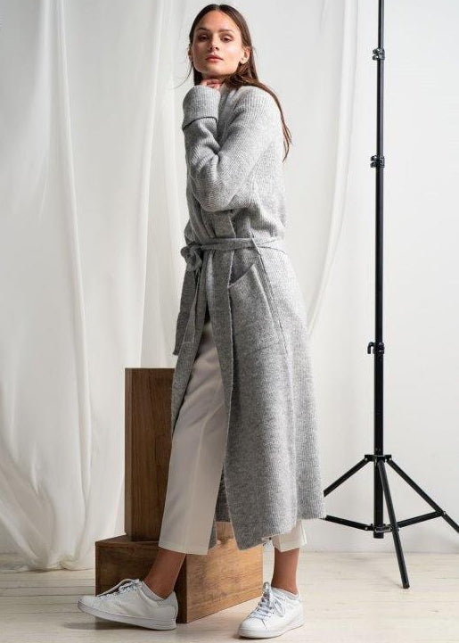 GREY OVERSIZED CARDIGAN WITH BELT - JUSTBRAZIL