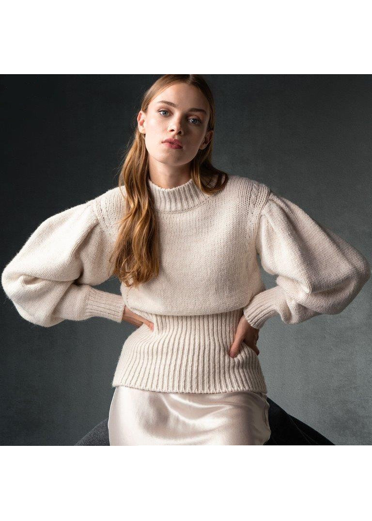 IVORY BALLOON SLEEVES SWEATER - JUSTBRAZIL